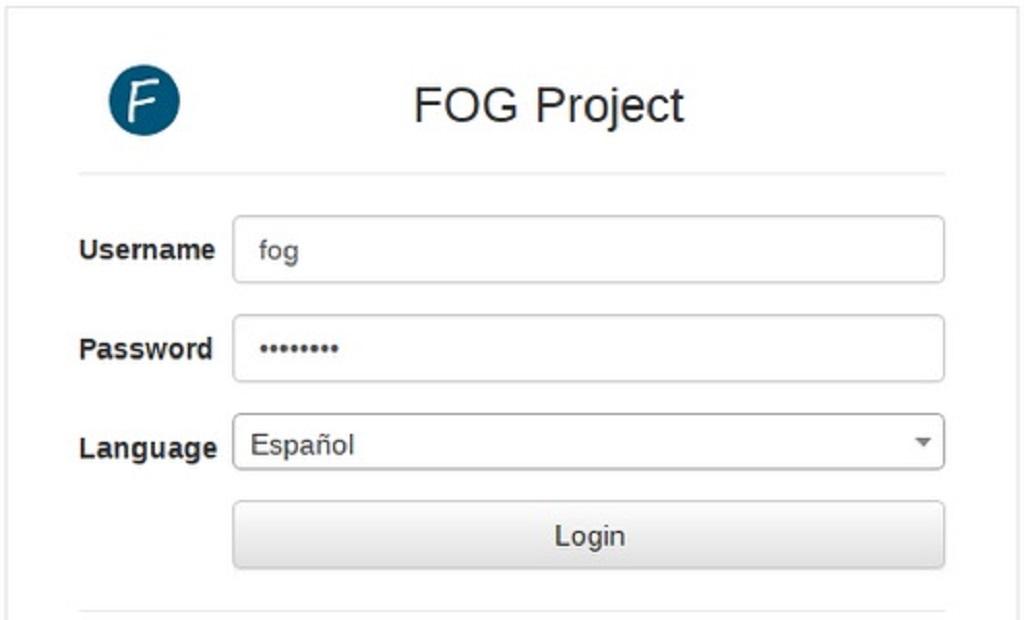 Fog Project: Interfaz web - Ventana de Acceso