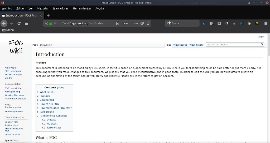 Fog Project: Página Web de la Wiki