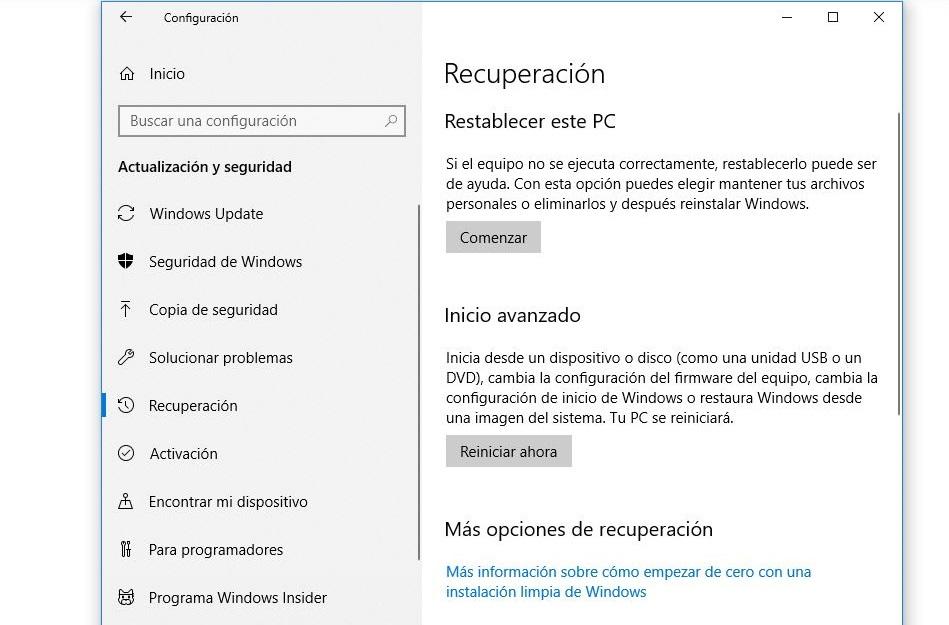 recuperacion windows 10
