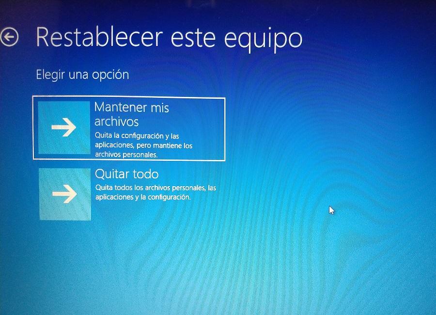 restablecer equipo windows 10