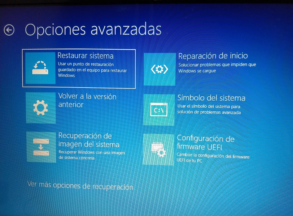 restaurar sistema windows 10