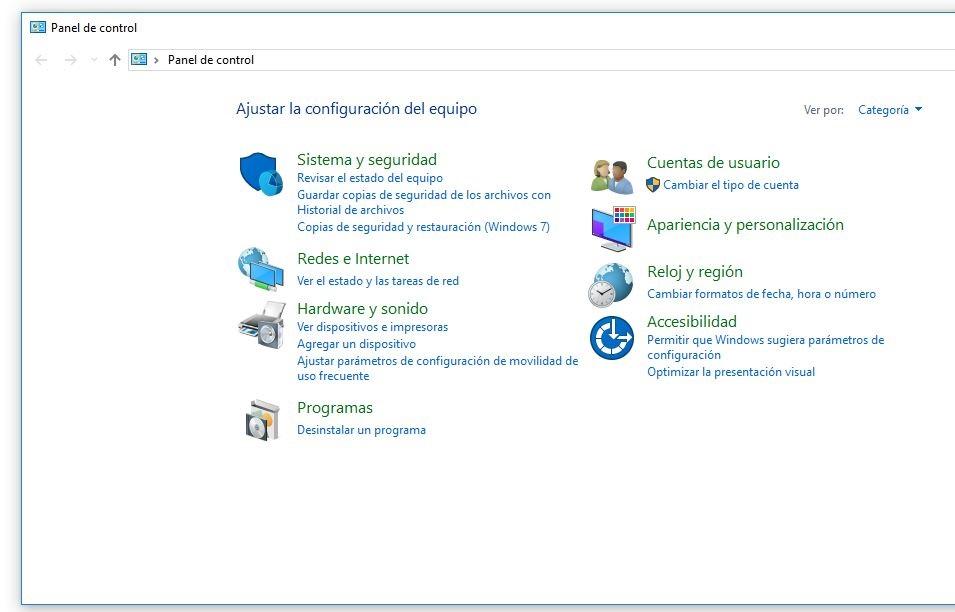 sistema y seguridad panel de control windows 10