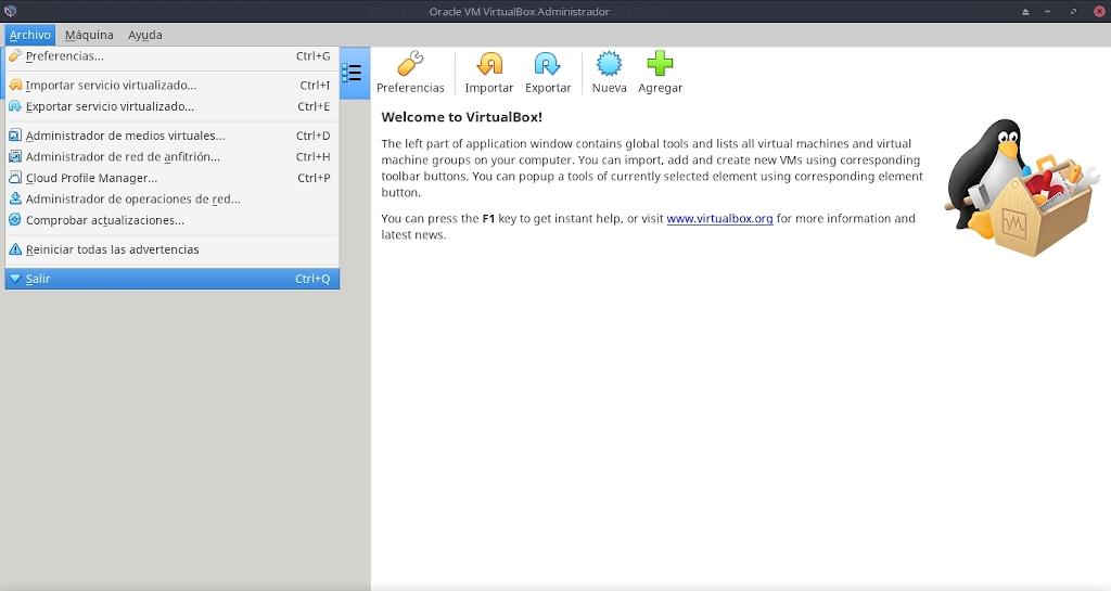 Virtualbox 6.0: Configuración - Archivo