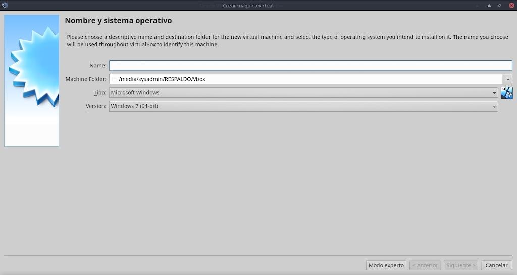 Virtualbox 6.0: Configuración - Maquina - Nueva