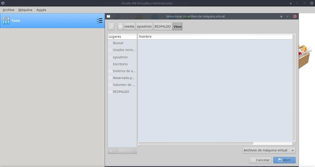 Virtualbox 6.0: Configuración - Maquina - Agregar