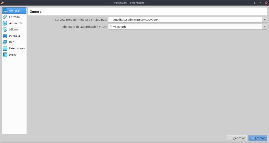Virtualbox 6.0: Configuración - Archivo - Preferencias