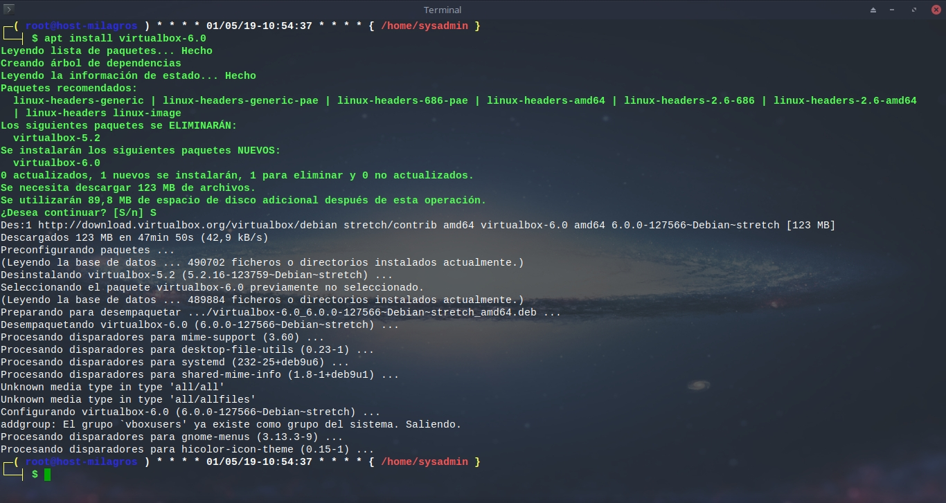 Virtualbox 6.0: Instalación - Metodo 2