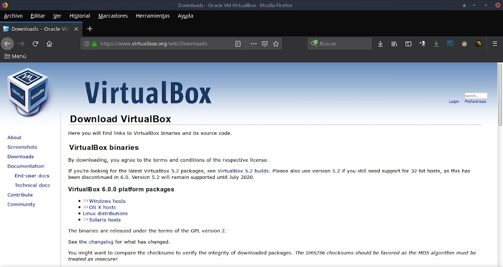 Virtualbox 6.0: Instalación