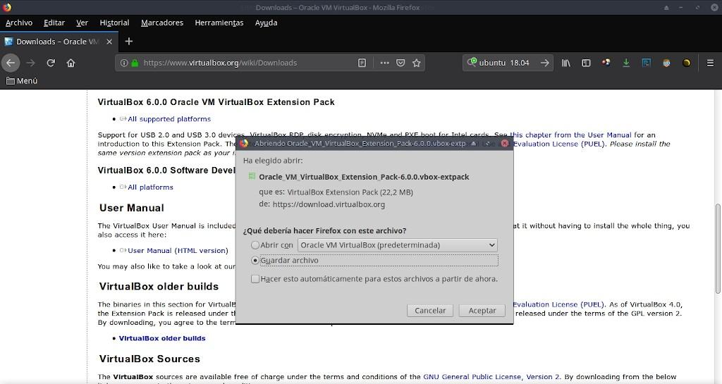 Virtualbox 6.0: Instalación Extemnsion Pack