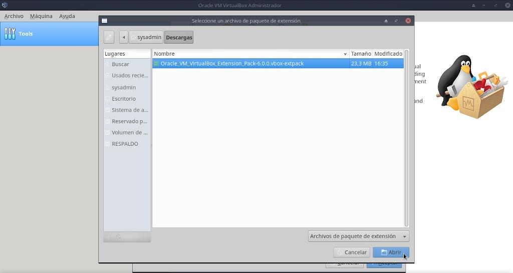 Virtualbox 6.0: Instalación Extemnsion Pack - Modo 2