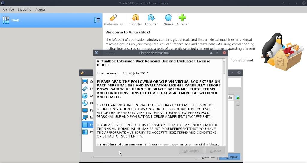 Virtualbox 6.0: Instalación Extemnsion Pack - Paso final común
