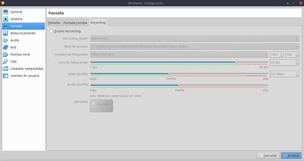 Virtualbox 6.0: Buena Practicas - Configuración - Pantalla