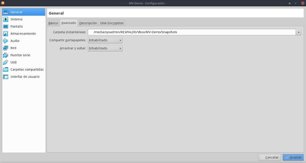 Virtualbox 6.0: Buena Practicas - Configuración - General
