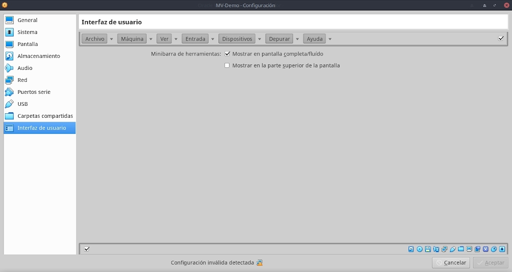 Virtualbox 6.0: Buena Practicas - Configuración - Interfacz de Usuario