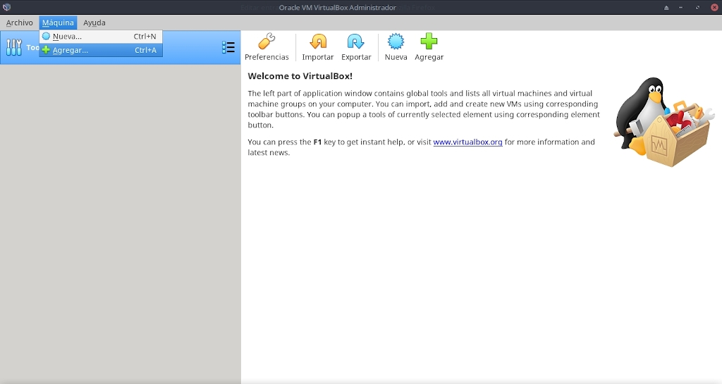 Virtualbox 6.0: Uso - Paso 1