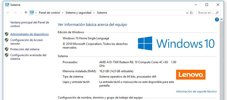 administracion de dispositivos windows 10