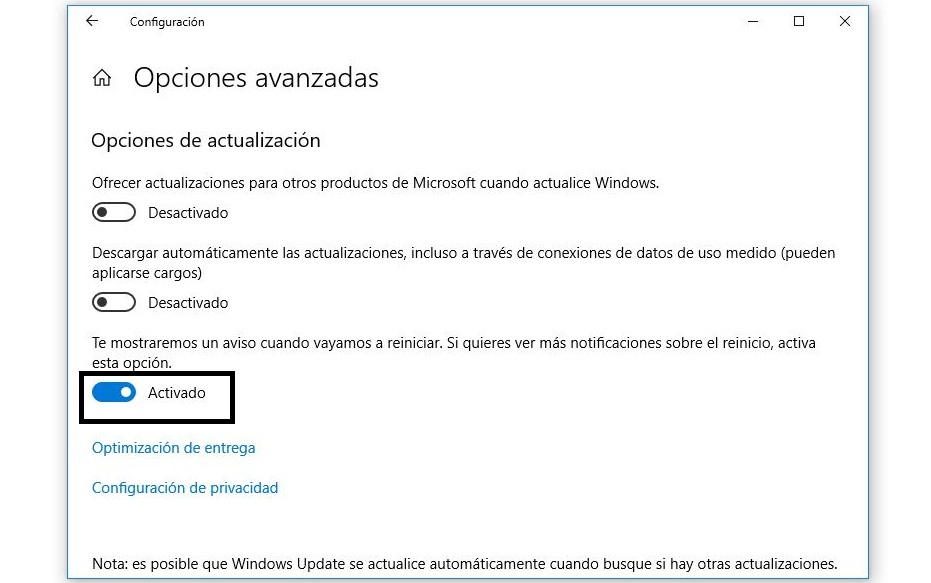 aviso de reinicio windows 10
