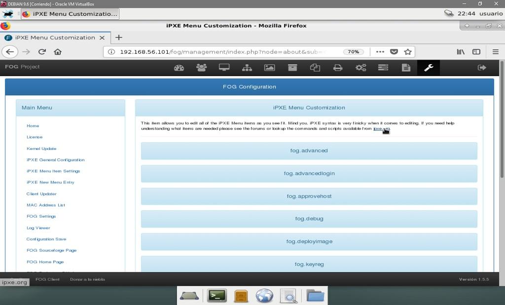 Fog Project: Configuración de Fog - Configuración de opciones del Menú IPXE