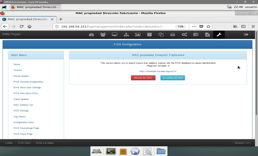 Fog Project: Configuración de Fog -Listado de Direcciones MAC
