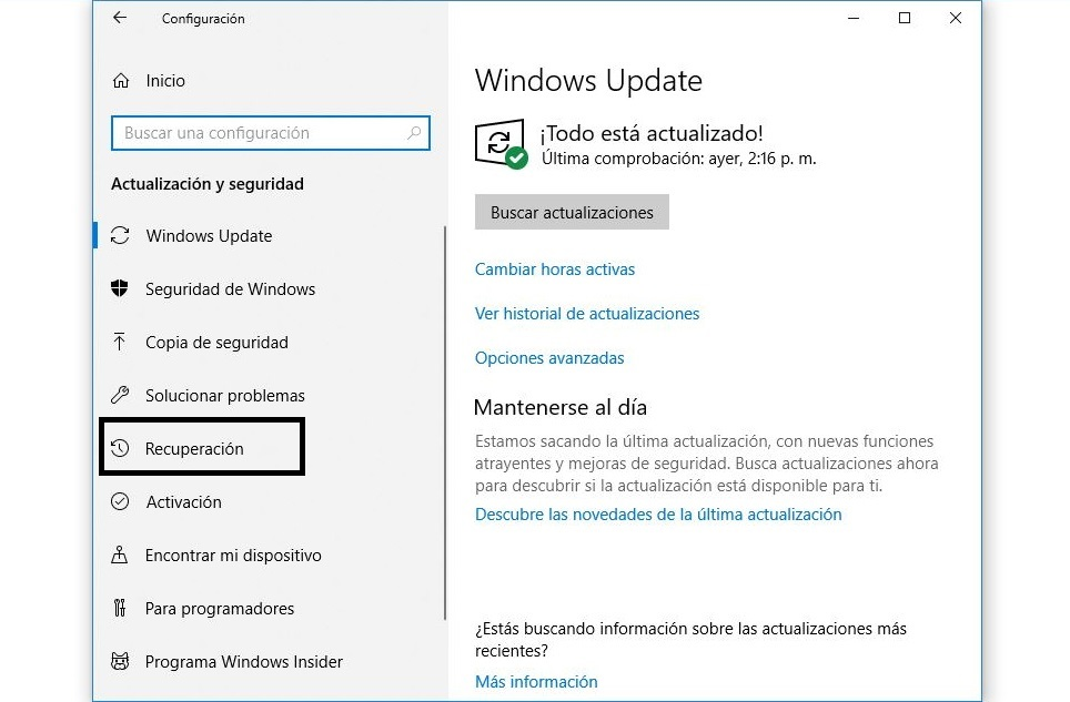 recuperacion windows 10