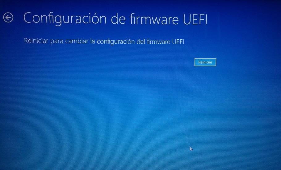 reiniciar para configurar firmware uefi