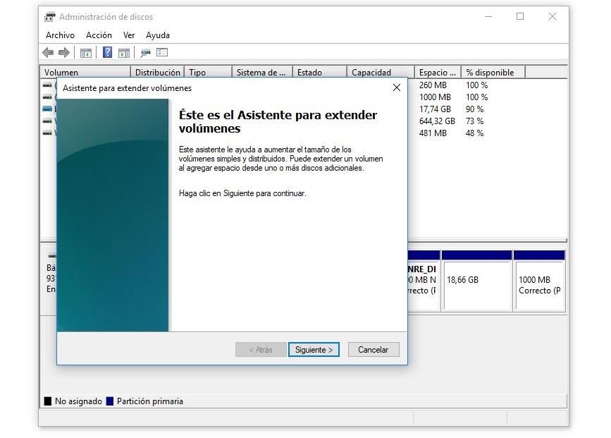 asistente para extender volumen disco windows 10