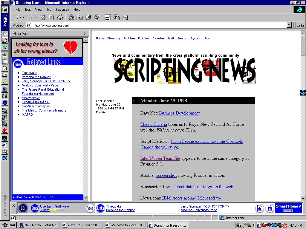 Movimiento Bloguero y los Blogs: Scripting News