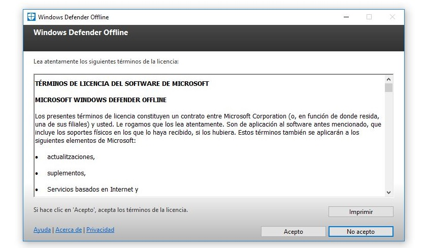 aceptar terminos y condiciones windows defender offline