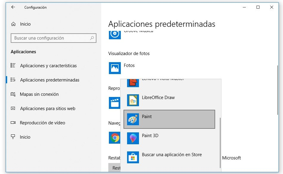 aplicaciones predeterminadas windows 10