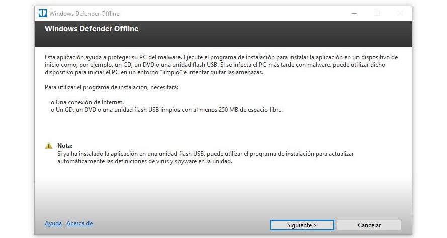 ejecutar windows defender offline