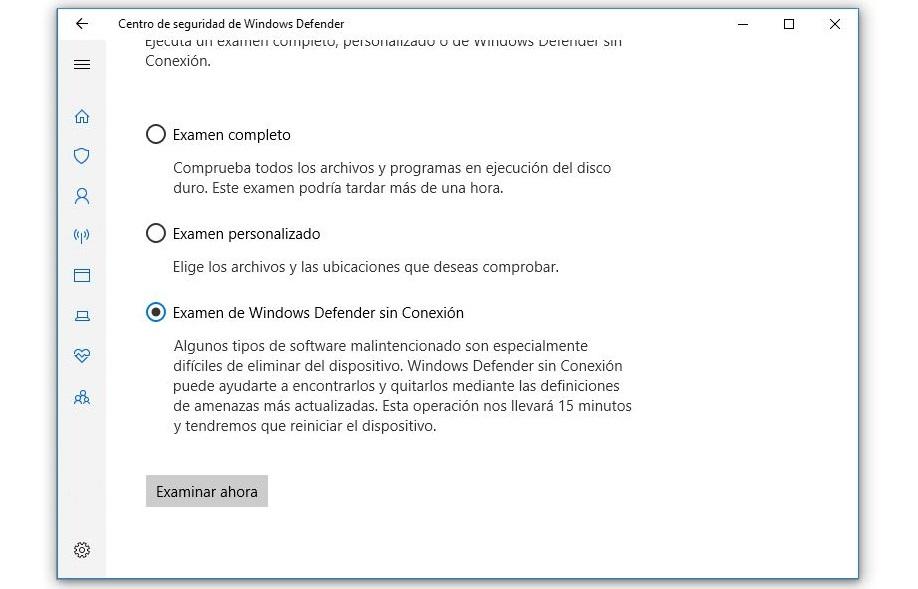 examen de windows defender sin conexion