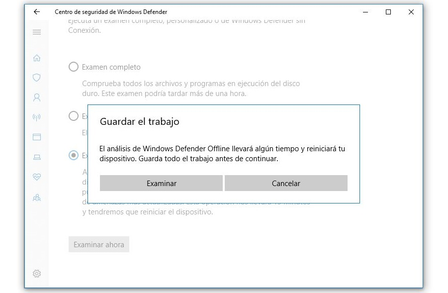 examinar equipo con windows defender sin conexion