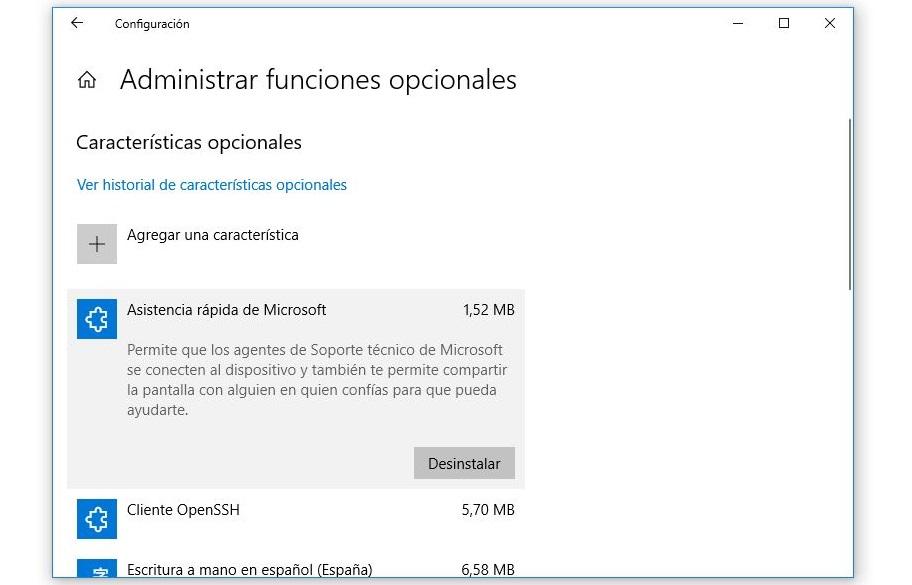 funciones opcionales windows 10