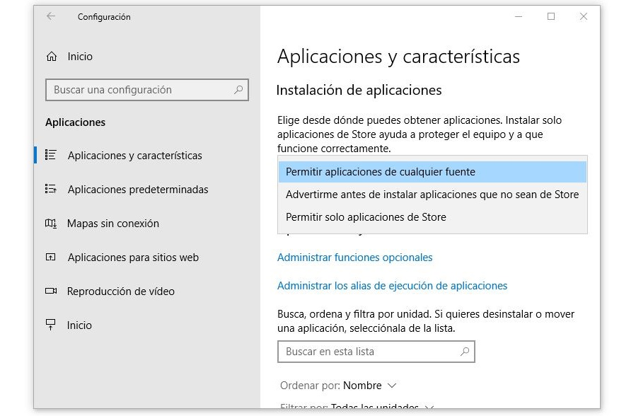 instalacion de aplicaciones windows 10
