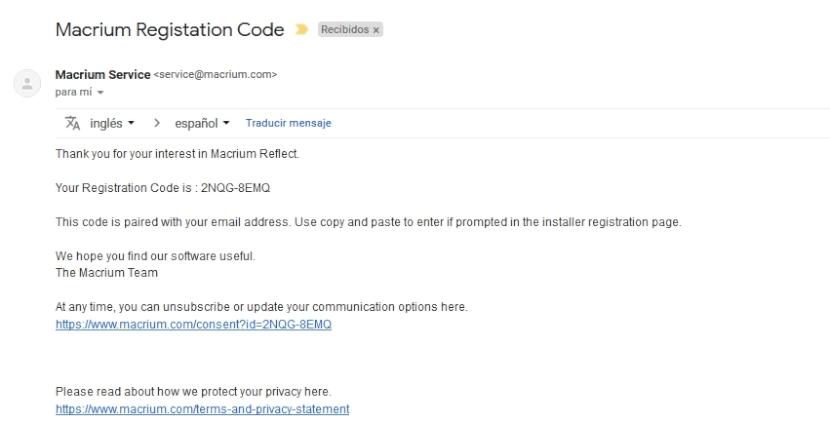 Macrium Reflect: Código de registro por correo