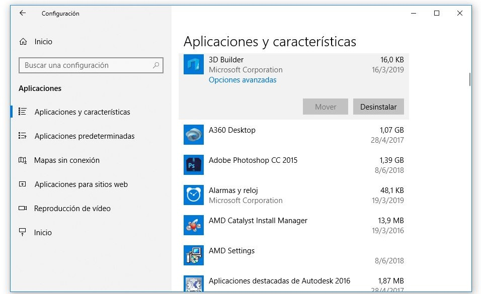 mover o desinstalar aplicaciones en windows 10