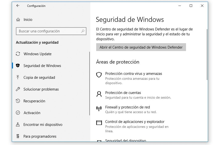 seguridad de windows 10