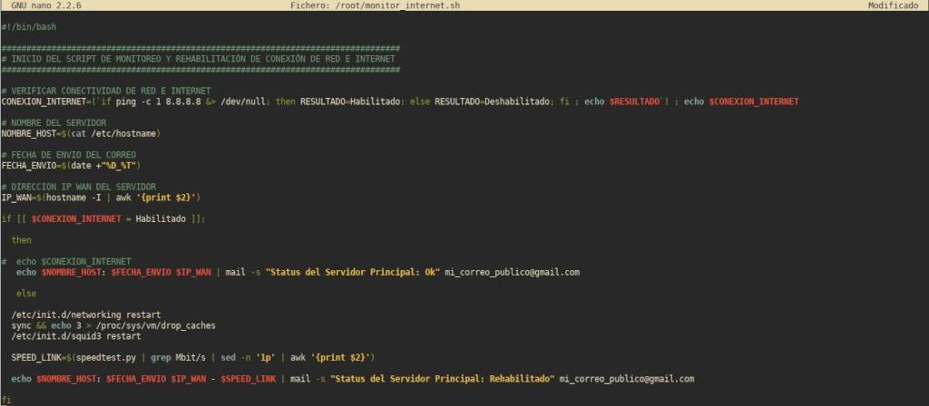 Wake on LAN (WoL) - Configuración: Script de monitoreo de Internet