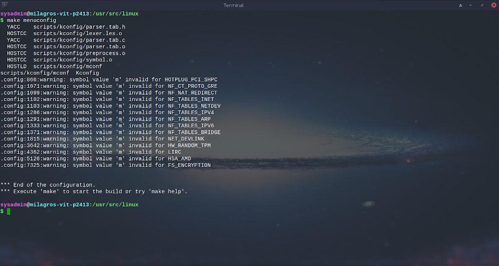 Kernel de Linux: Compilación - Paso 9.3