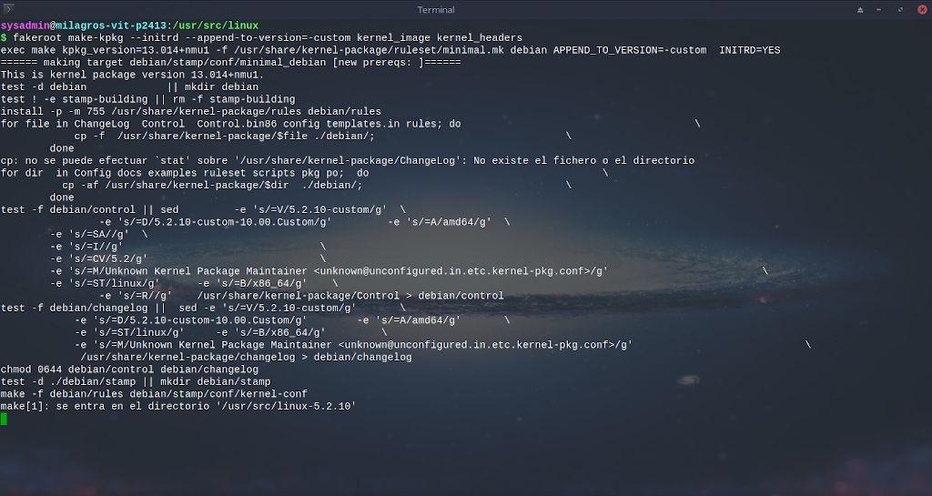 Kernel de Linux: Compilación - Paso 10.2
